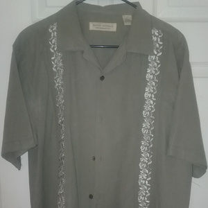 Mens Olive/gray Button Down